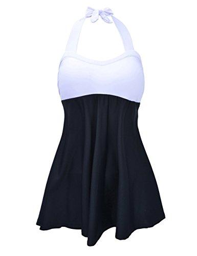 Maillot de Bain Femme 1 Pièce Noir Grande Taille Gainant Monokini Taille Haut Push Up Halterneck Col V Sexy Bikini Swimsuit pour...