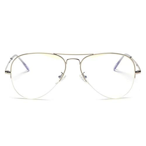 YMTP Männer Optische Gläser Rahmen Roségold 2019 Anti Blau Strahl Brille Computer Brille Rahmen Frauen Halbe Felge Metall, Silber Mit Klar