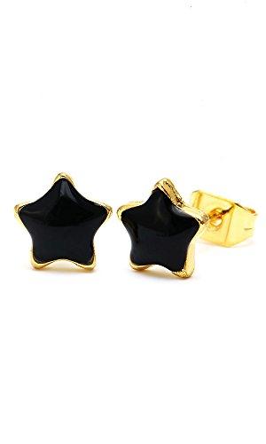 Chic-Net Brass d'oreille étoiles cérusé 8mm Multicolore Or émail sans Nickel laiton noir