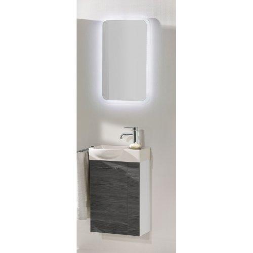 FACKELMANN Gäste-WC Set Vadea 3tlg, Hochglanz weiß/Pinie anthrazit Nachbildung