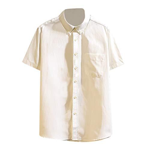 Herren-Hemden Kurze Ärmel-Hemd, Skxinn Kurze Ärmel-Shirts für Männer, Mode Sommer Herren Oberteile Tops mit Button,Casual T-Shirts Bluse S-4XL Ausverkauf(Weiß,XXX-Large)
