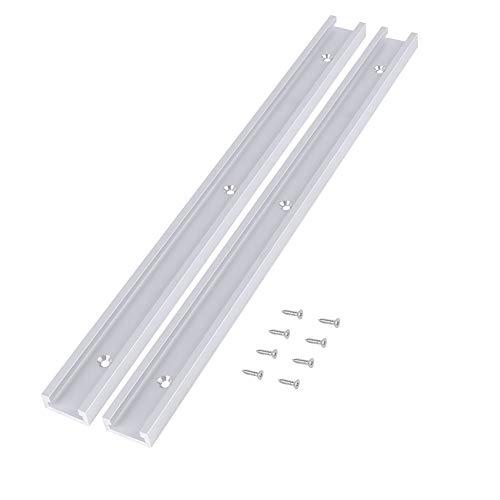 2 Stück 400mm Aluminiumlegierung T-Track T-Slot Track mit 8 Stück selbstklebende Schrauben für Holzbearbeitung oder Router Tischsäge