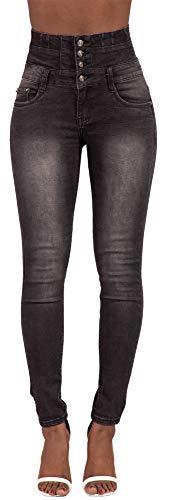 Frauen Schwarz Hohe Taille Washed Verblasst Jeans Hohe Taille Skinny Slim Fit Stretch Damen Jeans Hosen 38 - Hohe Taille Skinny Jeans