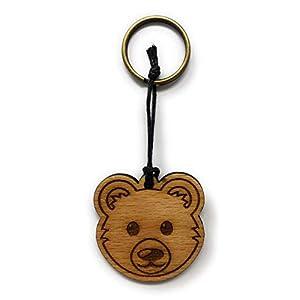 Schlüsselanhänger Bär aus Holz optional mit individueller persönlicher Gravur !