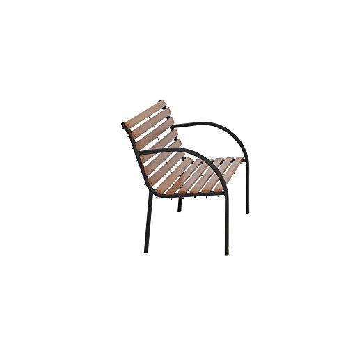 Siena Garden 2er Bank Menorca, 122x62x80cm, Gestell: Stahl, pulverbeschichtet in schwarz, Fläche: Hartholz in natur - 5
