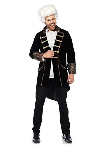 Kostüm Vampir Pirat Männer - shoperama Herren Kostüm Jacke Samt Brokat Schwarz/Gold GRAF Dracula Vampir Rokoko Adelsmann Edelmann, Größe:XL