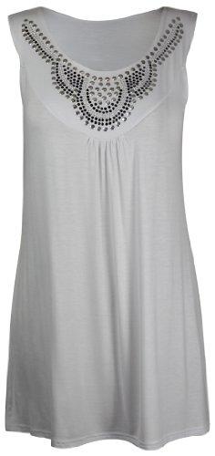 Purple Hanger - Débardeur Tunique T-shirt Long Femme Encolure Ronde Perles Clous Strass Sans Manche Grande Taille Neuf Blanc