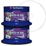 Verbatim DVD Double Layer DVD+R DL 8.5 GB / 240 min 8x, Full printable White No ID, 100 Stück in Cakebox