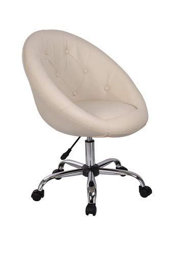 Drehstuhl Schreibtischstuhl Creme Rollhocker mit Lehne Arbeitshocker Kosmetikhocker Duhome 0533