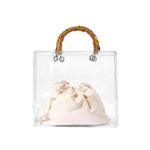 Wetour Tragbare transparente Strandtasche Handtasche mit Bambusgriff PVC Strandurlaub Jelly Bag -