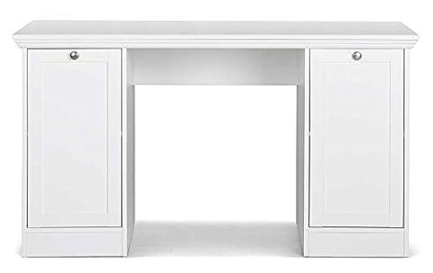 Schreibtisch in weiß mit 2 Türen und 2 Einlegeböden, hochwertige Rahmenfronten, Metallknöpfe im Vintage-Look, Maße: B/H/T ca. 136/75/63 cm