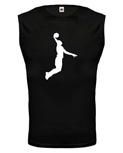 buXsbaum® Herren armfreies Tank Top Basketball Dunker | Ballsport slam dunk | S black-white Schwarz