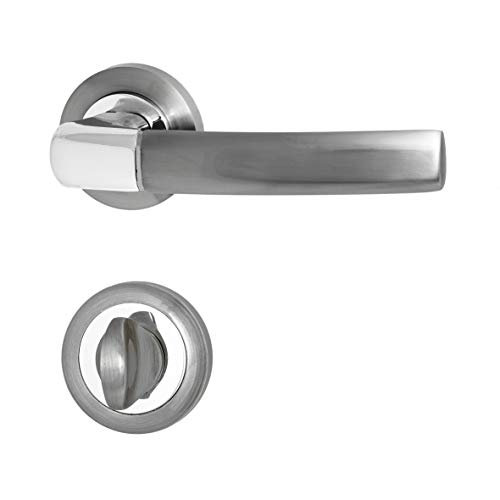 Türbeschläge, Türgriff für Zimmertüren - Innentüren - Holztüren C013QX1- CP/SN (Wc - Badezimmer) -