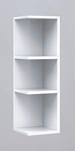 Estantería rinconera para colgar en la pared de tu baño o aseo, color blanco brillo 20x65x21cm