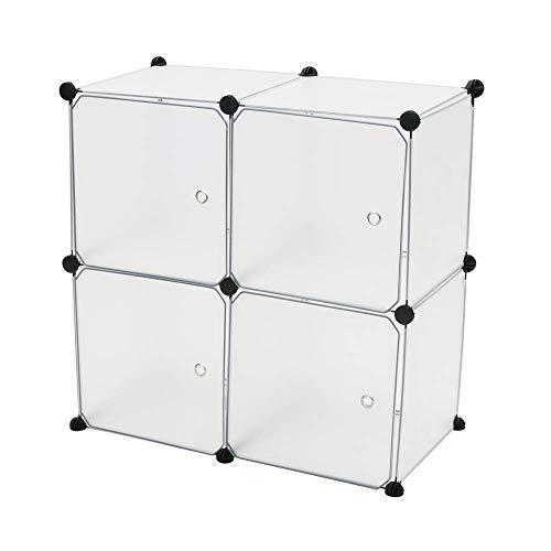 PrimeMatik - Armario Organizador Modular Estanterías de 4 Cubos de 35x35cm plástico Blanco con Puertas