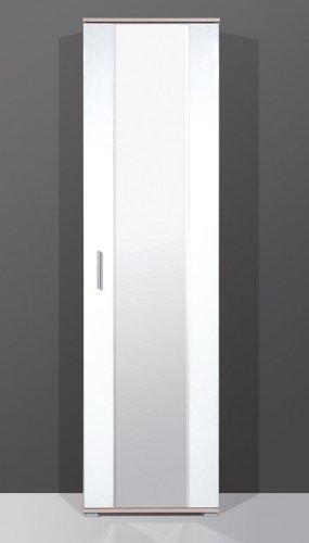VARILANDO Kleiderschrank mit Spiegel in hochglanz-weiß 1-türig Garderobenschrank Spiegelschrank