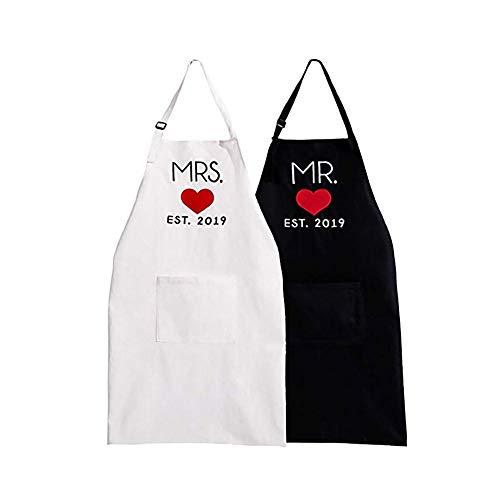 Couples Schürzen, Mr. Right & Mrs. Always Right Couples Kitchen Aprons Set, Wasser- und Faltenprävention, Geschenk für zukünftige Ehemänner und Ehefrauen/Jubiläen/Parteien (Paar Schürze)