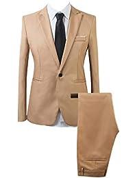 AnyuA Traje Suit de 2 Piezas Manga Larga Blazers para Hombre 1a407d8e715
