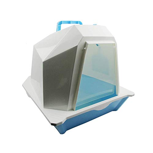 HYLH  Large Litter Boxes, Closed Double Layer Cat Litter Tray, Clear Filter Easy Clean, Blue - Filter Tray