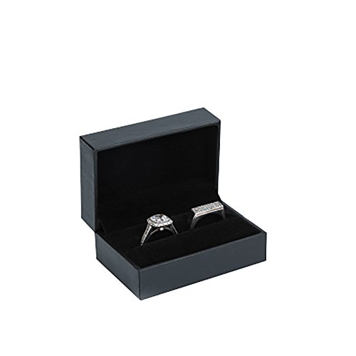 JUNGEN Box for two rings Jewelery Organizer Jewelry, Jewelry Case with velvet Interior Storage box Wedding Gift (Black)