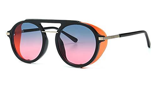 WDXDP Sonnenbrillen Herren Schild Sonnenbrille Retro Runde Halbe Metallrahmen Kreis Sonnenbrille Für Frauen Lichtfarbe Sommer-Stil Als Show In Foto Blau Rosa