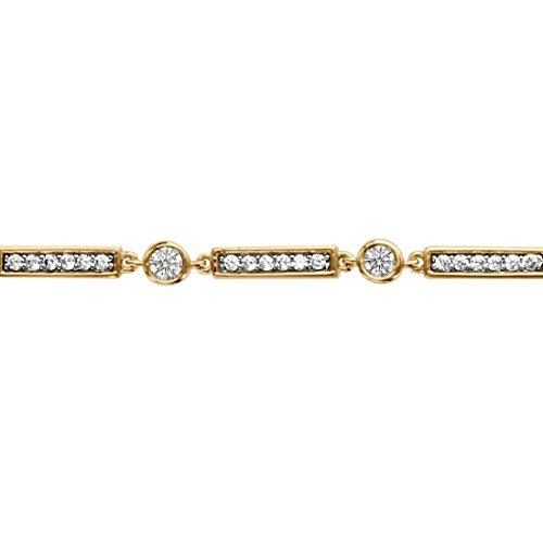 So chic gioielli© bracciale lunghezza regolabile: 16a 18cm rettangolo ossido di zirconio bianco placcato oro 750