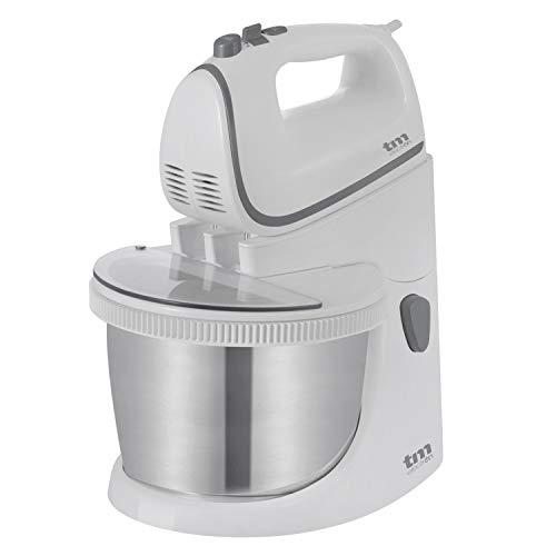 TM Electron TMPBA114 batidora amasadora para repostería de 450 w con Bol 2.5l de Acero Inoxidable, Ganchos para amasar, Varillas y Tapa antisalpicadura Transparente, Plástico, Blanco