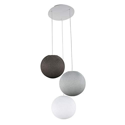 Plafonnier 3 Globes S Blanc - Gris Perle - Graphite