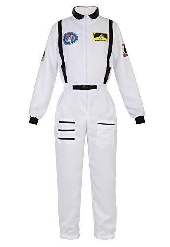 Astronaut Kostüm Weiß - Kranchungel Astronauten-Kostüm für Damen Astronautin-Kostüm Raumfahrer Weltraum Astronauten-Anzug Faschingskostüm Weiß Small