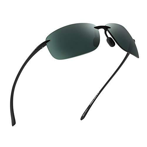 JIM HALO Sport Sonnenbrille für Damen Herren TR90 Randlos Unzerbrechlich Rahmen für Laufen Angeln Baseball Fahren Grün -