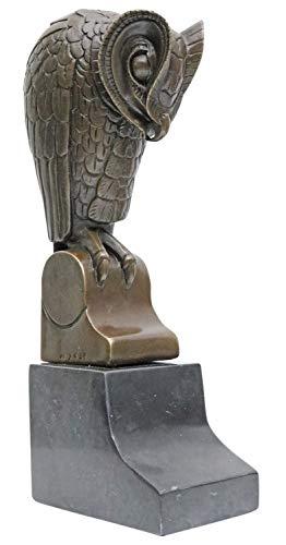 aubaho Bronzeskulptur Bronze Figur Buchstütze Bronzefigur Eule Skulptur Antik-Stil 25cm