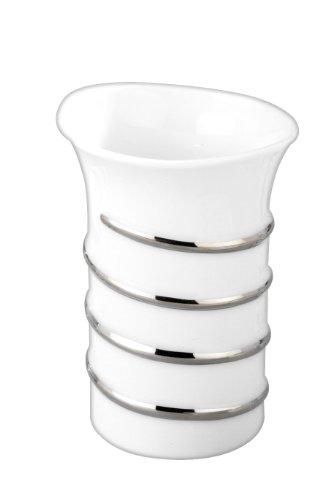 WENKO 16961100 Zahnputzbecher Cuneo - mit Chrom-Applikationen, Porzellan, 7.7 x 11 x 8.1 cm, Weiß