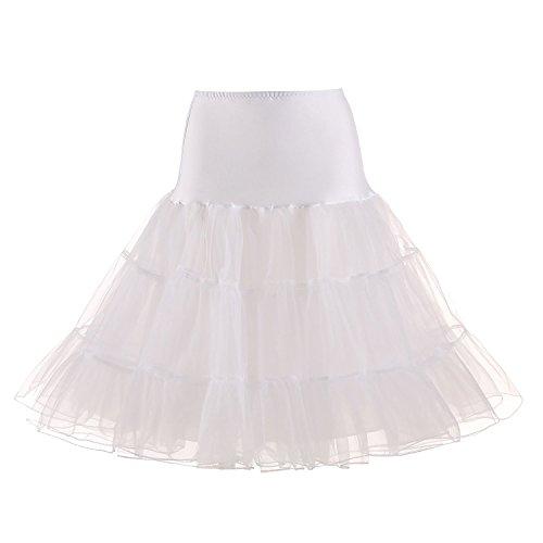 MEITEMEI 1950 Petticoat Reifrock Unterrock Petticoat Underskirt Crinoline für Rockabilly Kleid Weiß L