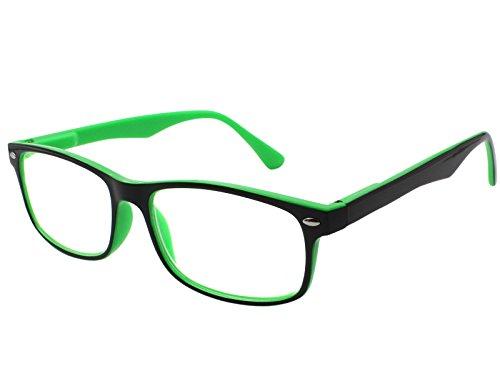 TBOC Gafas de Lectura Presbicia Vista Cansada – Graduadas +2.50 Dioptrías Montura de Pasta Bicolor Verde y Negra de Diseño Moda para Hombre y Mujer Unisex con Lentes de Aumento para Leer y Ver de Cerca Patillas con Bisagras de Resorte