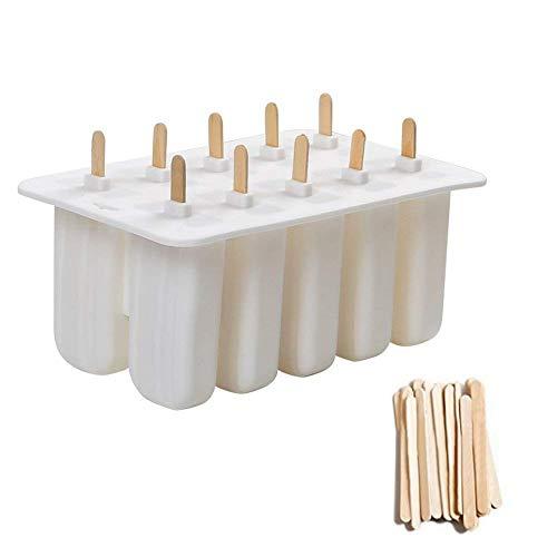 Cozywind stampi ice bar stampo ghiacciolo makers 10 set ice cream vassoio popsicle frozen yogurt bar ideale per la preparazione di ghiaccioli, gelati, sorbetti (white)