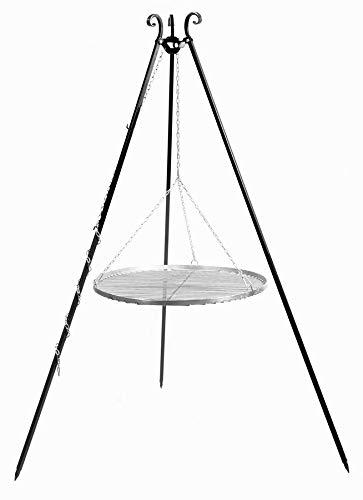 KORONO 5900105400086 Schwenkgrill am Dreibein 180 cm – Grillrost, Edelstahl, 102 x 80 x 11 cm