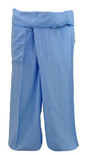 Bequeme Thai-Fischerhose / Yogahose aus Rayon (Rayon fällt geschmeidiger als Baumwolle), die durch ihre Wickeltechnik für jede Größe geeignet ist. Diese Hose eignet sich hervorragend für Yoga. - Textil Material 100 % Viskose- Farbe blau- Ursprung Fai...