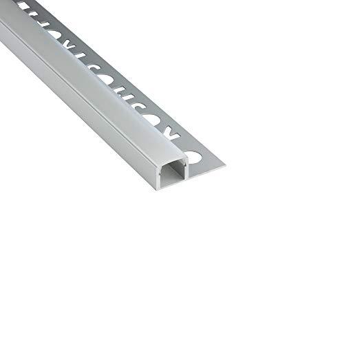 LED Aluprofil T77 silber Fliesenprofil + Abdeckung Abschlussleiste Bordüre Fliesen für LED-Streifen-Strip 1m opal