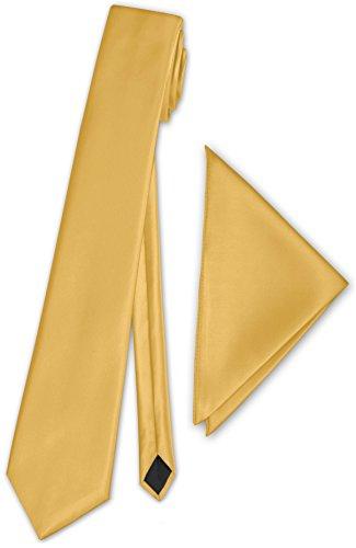 PABLO CASSINI (Fliegen) Schmale dünne Satin Krawatte + Einstecktuch + Geschenkkarton - 40 Farben zur Auswahl (Gelb)