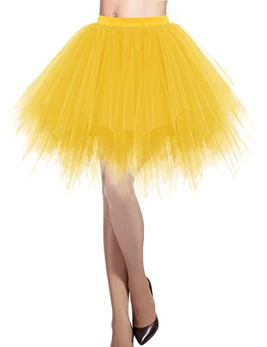 Dresstells Damen Tüllrock 50er Rockabilly Petticoat Tutu Unterrock Kurz Ballett Tanzkleid Ballkleid Abendkleid Gelegenheit Zubehör Dark Yellow M