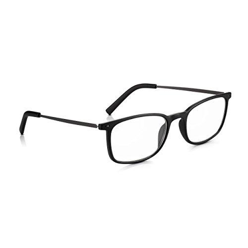 Read Optics Black Easy Reader Brille +2.5 für Männer/Frauen: Stilvolle Lesebrille ohne Brille im Retro-Stil mit leichtem Polycarbonat + Metallarmen. Wahre optische Qualitätslinsen