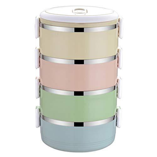 DKEyinx Thermische Brotdose/Lunchbox/Bento Box Edelstahl Lebensmittel Container, Leicht zu Reinigen für Picknick Schule Essen behälter Zufällige Farbe 4-Schichten