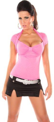 instyle-camiseta-con-bolero-y-cuello-en-v-para-mujer-talla-unica-34-38-monocolor-rosa-talla-unica