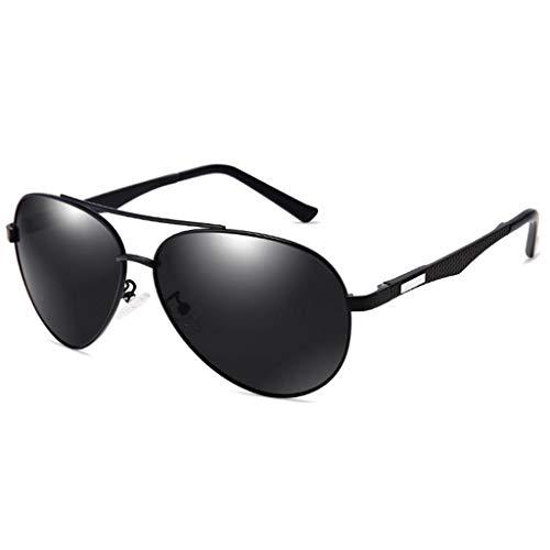 Mode Polarisierte Sonnenbrille, Klassische Aviator Style Driving Brille, HD-Objektiv, 100% UV-Schutz für Männer und Frauen Black Frame - Black & Gray Lens