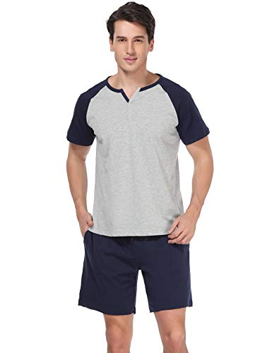 Aibrou Herren Schlafanzug Pyjama kurz Nachtwäsche Set Sommer Sleepwear Loungewear aus Baumwolle Grau M Kurze-set