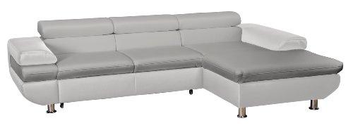 CAVADORE 5011 Polsterecke Caponelle, 3-er Bett mit Kopfteilverstellung, Longchair, 279 x 72-88 x 177 cm, Kunstleder Bison, Light grau/Pure weiß