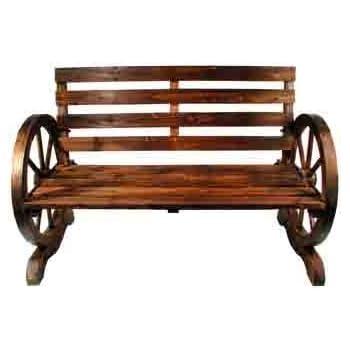Gartenbank Aus Holz, Wagenrad Stil