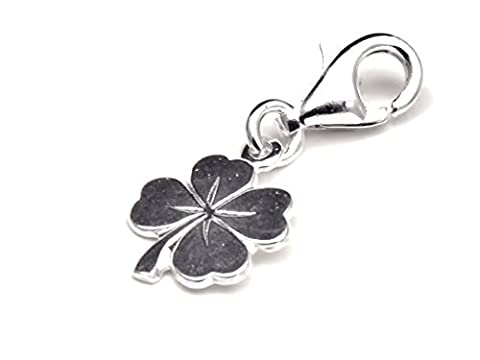 Genuine Solid Silver 925 clover leaf clip on charm ideal for european bracelet or necklace