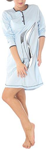 Chemise de nuit Femme 100% Coton Manches longues Butoun Bleu