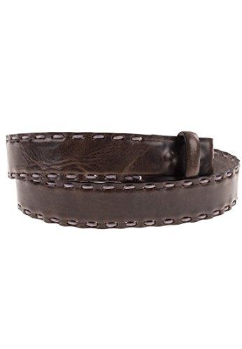 VMP Gürtel aus Leder mit Hand-Stitching Krest, Größe:85, Farbe:Grigio-07(AMT924)